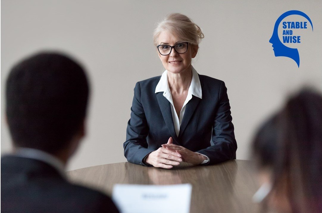 Jobs for over 50s; a matured aged woman being interviewed