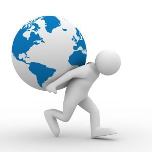 Agism: A person carrying the world behind his back